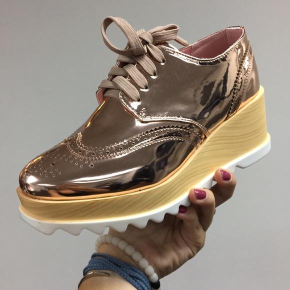 a589527ac532 Rose gold oxford platform sneaker